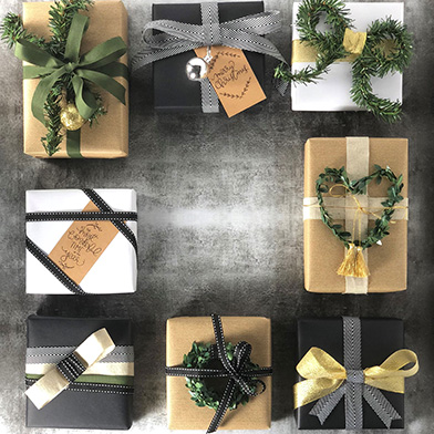 Accessories on wrapped presents